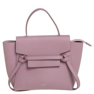 Celine Pink Leather Nano Belt Top Handle Bag