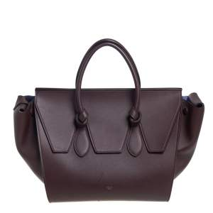 Celine Burgundy Leather Small Tie Tote