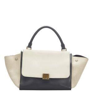 Celine Bicolor Leather Trapeze Medium Bag
