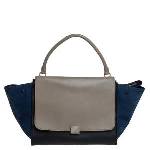 Celine Tricolor Leather and Suede Large Trapeze Top Handle Bag