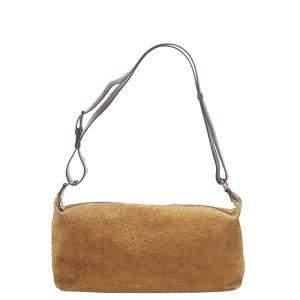 Celine Brown Leather Suede C Macadam Shoulder Bag