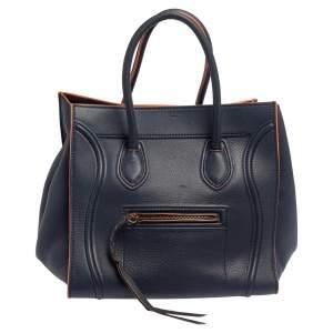 Celine Blue Leather Mini Phantom Luggage Tote