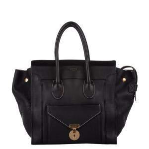 Celine Black Leather Envelope Luggage Tote Bag