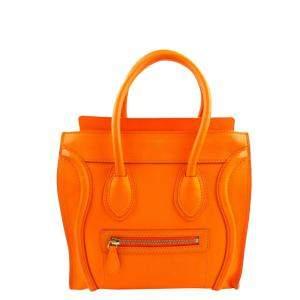 Celine Orange Leather Luggage Micro Tote Bag