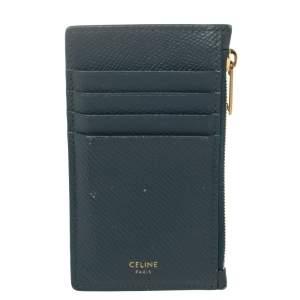 Celine Blue Leather Zip Card Holder