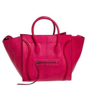 حقيبة يد سيلين فانتوم لاغيدج جلد ثعبان وردي متوسطة