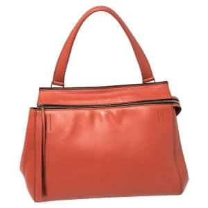 حقيبة سيلين ايدج جلد أحمر فاتح متوسطة بيد علوية