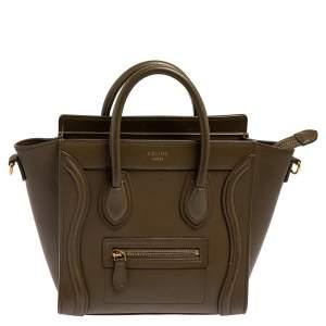حقيبة يد سيلين نانو لاغيدج جلد أخضر زيتوني