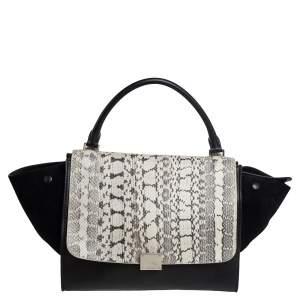 Celine Black Leather, Suede and Python Medium Trapeze Top Handle Bag