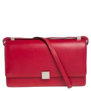 Celine Red/Brown Python and Leather Medium Case Flap Shoulder Bag