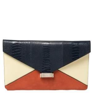 حقيبة كلتش سيلين دايموند جلد وسويدي ونعام متعدد الألوان