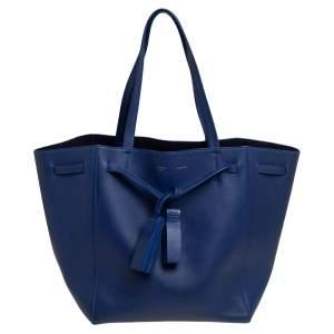 حقيبة يد سيلين فانتوم كاباس جلد أزرق بشراشيب متوسطة