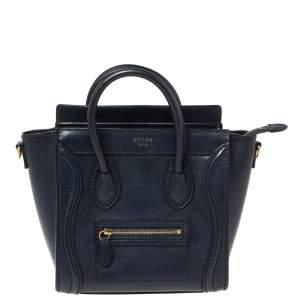 Celine Navy Blue Leather Nano Luggage Tote