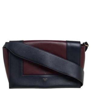 Celine Blue/Burgundy Leather Frame Classic Messenger Bag