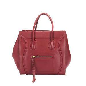 Celine Red Leather Phantom Luggage Small Tote Bag