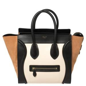Celine Tri Color Leather and Suede Mini Luggage Tote