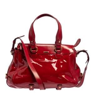 Celine Red Patent Leather Lirine Tote