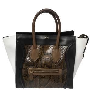 Celine Multicolor Python and Leather Mini Luggage Tote