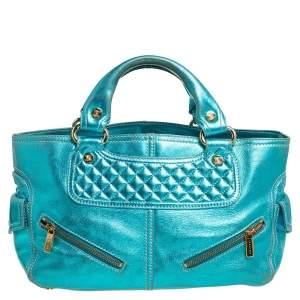 Celine Metallic Blue Leather Boogie Tote