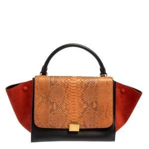 Celine Multicolor Python, Suede, and Leather Medium Trapeze Top Handle Bag