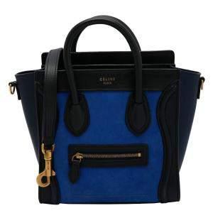 Celine Blue/Black Leather Mini Luggage Tote Bag