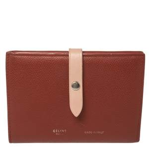 Celine Copper Brown/Pink Grained Leather Multifunction Strap Wallet