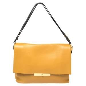 Celine Mustard/Black Leather Blade Flap Bag