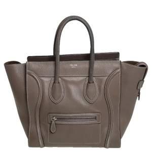 Céline Brown Leather Mini Luggage Tote