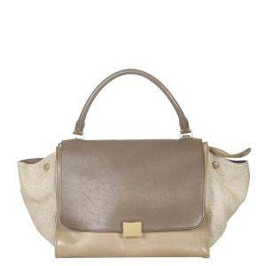 Celine Tricolor Leather and Suede Trapeze Medium Bag