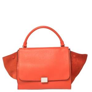 Celine Red Leather and Suede Medium Trapeze Top Handle Bag