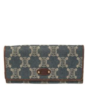 Céline Blue/Brown Macadam Canvas and Leather Continental Wallet