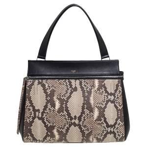 Celine Black/Beige Python and Leather Medium Edge Top Handle Bag