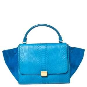Celine Blue Python and Suede Medium Trapeze Top Handle Bag