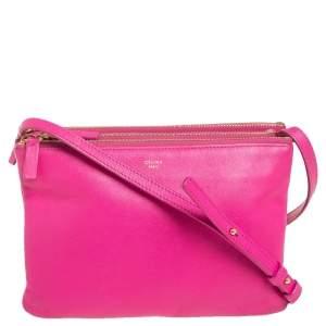 Céline Fuchsia Leather Small Trio Zip Crossbody Bag