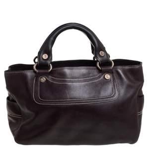 Celine Dark Brown Leather Boogie Tote