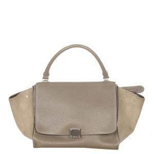Celine Beige Leather and Suede Trapeze Medium Bag