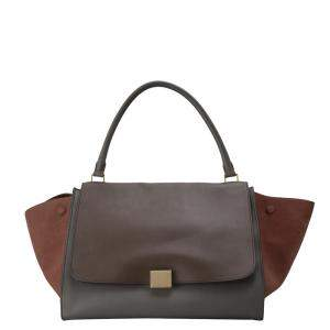 Celine  Tricolor Leather and Suede Trapeze Bag