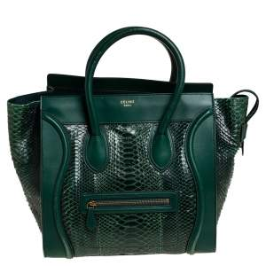 حقيبة يد توتس سيلين ميني لاغيدج جلد وجلد ثعبان أخضر