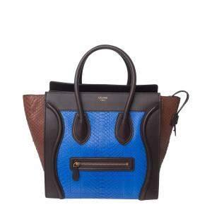 Celine Blue/Brown Python Leather Luggage Medium Tote Bag