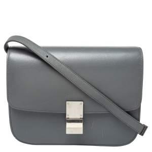 Celine Grey Leather Medium Classic Box Shoulder Bag