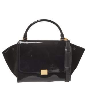 حقيبة سيلين ترابيز جلد أسود لامع وسويدي متوسطة بيد علوية