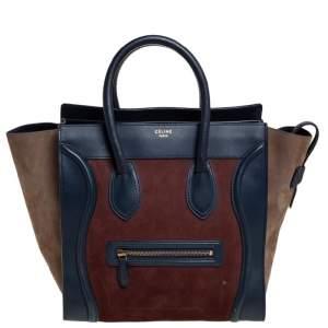 حقيبة يد سيلين لاغيدج ميني سويدي و جلد ثلاثي اللون