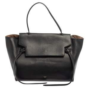 حقيبة سيلين جلد أسود ميني بحزام ويد علوية
