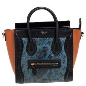 Céline Tri Color Leather Nano and Python Luggage Tote