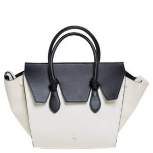 حقيبة يد توتس سيلين ميني تاي جلد أبيض/ أسود