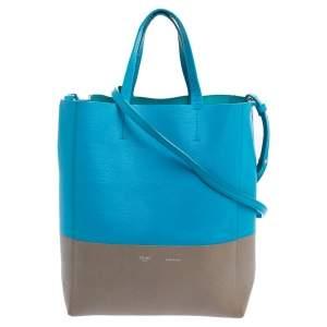 حقيبة يد توتس سيلين كاباس جلد مُحبب أزرق/ رمادي عمودية صغيرة