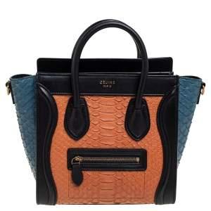حقيبة يد توتس سيلين نانو لاغيدج جلد وجلد ثعبان ثلاثية اللون مزركشة