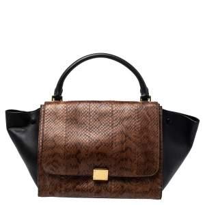 حقيبة سيلين ترابيز متوسطة يد علوية جلد وجلد ثعبان أسود/ بني