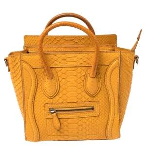 حقيبة يد سيلين نانو لاغيدج جلد ثعبان أصفر