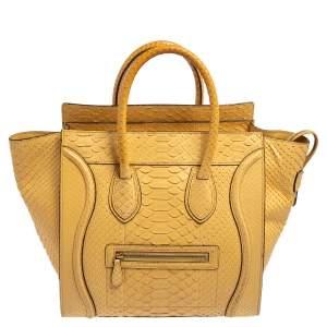 حقيبة يد سيلين لاغدغ ميني جلد ثعبان أصفر